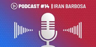 imagem com símbolos gráficos, cores; no topo, lê-se Podcast #14 Iran Barbosa; ao centro, um ícone de microfone com ondas sonoras; na base, a logomarca de Iran Barbosa